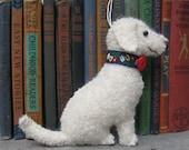 Cream Labradoodle Dog Friend Ornament, Handsewn Vintage Wool
