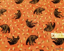 SALE-One Half Yard Cut Quilt Fabric, Black Bears and Green Leaves on Blotchy Orange, Clearance, Quilting, Sewing & Craft Supplies