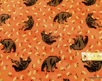 SALE-One Half Yard Cut Quilt Fabric, Black Bears and Green Leaves on Blotchy Orange, Clearance, Quilting-Sewing-Craft Supplies