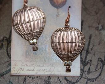 Pretty Hot Air Balloon Earrings/Dangles/Copper/Crystals/Handmade tag