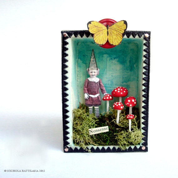 Little Altered Art Nonsense Fairy Shrine - Winged Impish Boy with Striped Legs and Redcap Toadstools