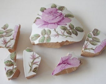 Supplies - Mosaic Tiles-  Focal Tiles - Rose Focal -  Mauve Pink Rose -  Leaves Vine - Unique Focal - Vintage Pottery