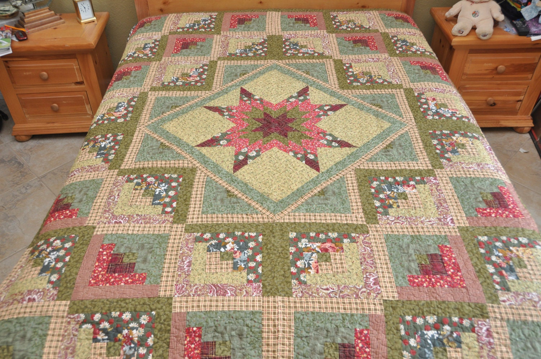 Log Cabin Quilts ~ King size star log cabin patchwork complete quilt machine