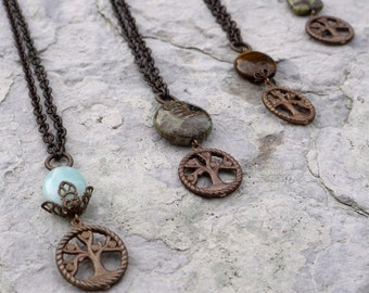 Tree of Life - 7 stone choices - Brass and Semi-Precious Stone Necklace