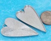 6pcs 29X52mm Great heart Silver tone Pewter bezel blank Pendant Tray