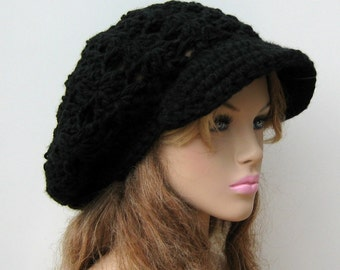 Newsboy cap, Goth Black hat, slouchy beanie, visor hat, newsboy hat, slouch beanie tam hat Boho, billed crochet beanie