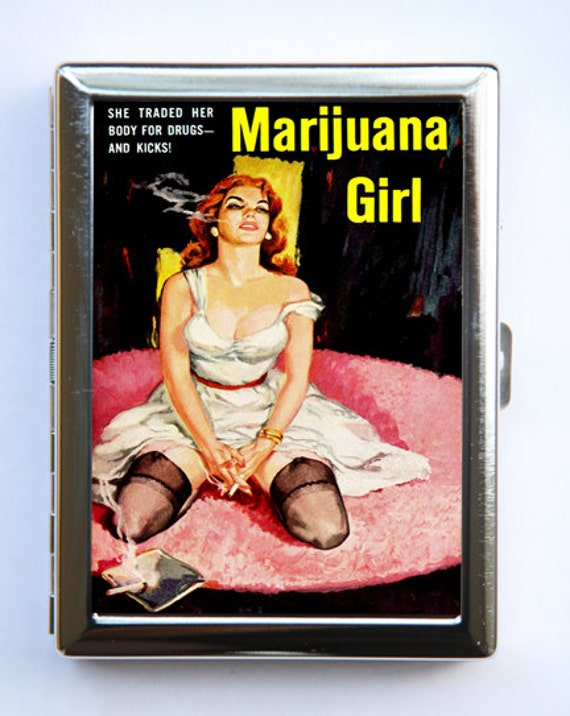 Marijuana Pin Up Girl Cigarette Case Wallet Business Card Holder pulp retro