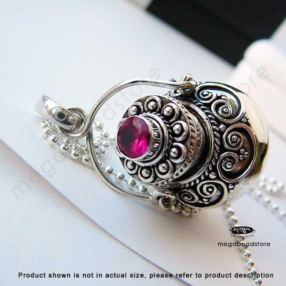 Ruby Gemstone Perfume Bottle Pendant- 925 Sterling Silver P28