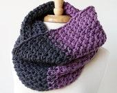 Chunky Knit Oversized Cowl - Luxurious Merino Wool Colorblock Cowl - Fall Fashion Winter Fashion