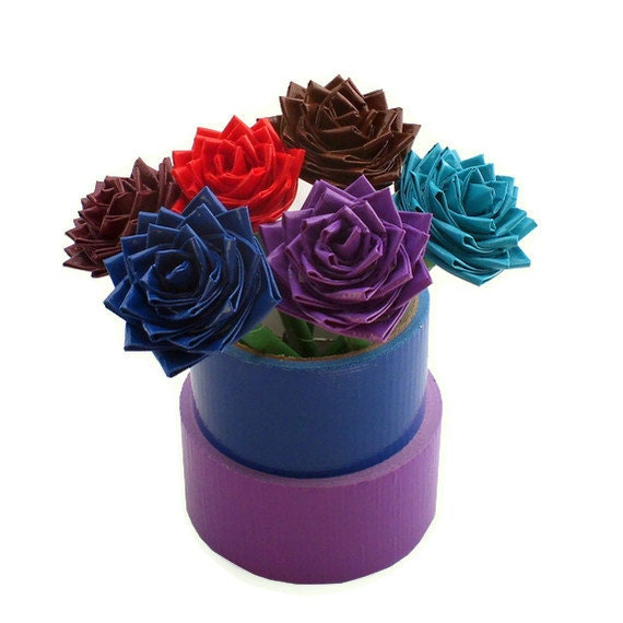 Duct Tape Flower Pens Deep Colors - Set of Two