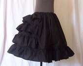 WHITE or BLACK BUSTLE Petticoat Cotton Ruffle Underskirt