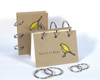 Card-File Address Book Double Stuffed (Yellow Birdie)
