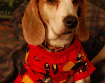 Red knitting witches,  pumpkins, and crows medium halloween dog shirt