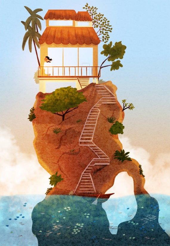 """Hawaiian Art, Hawaii Print, Island, Ocean Art, Wall Decor- """"Retreat"""""""
