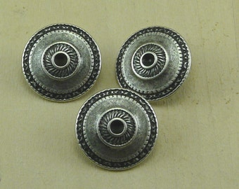 "7/8 "" Antique Silver Toltec Buttons  Intricately Detailed    E20"