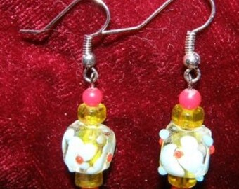 Hand Blown Lamp Worked Glass Flower Beaded Earrings