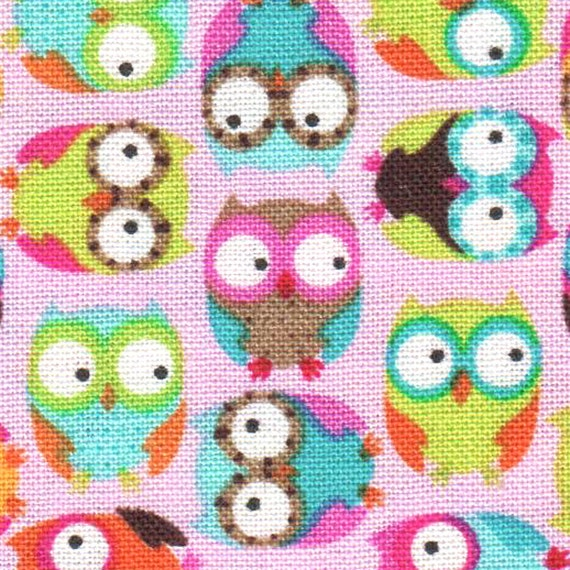 Timeless Treasures TOSSED MINI OWLS Pink cotton fabric 1/2 yard