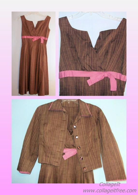 1950s Cotton Dress & Bolero - Brown/Rose Cotton - S/M