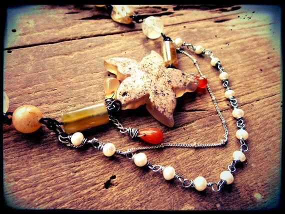 SALE Druzy choker necklace, Drusy Agate Starfish Golden quartz Freshwater Pearl - Star of the Ball