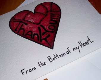 Cute Heart Thank you card 5x7 Greeting Card Blank inside by Agorables From the Bottom of My Heart