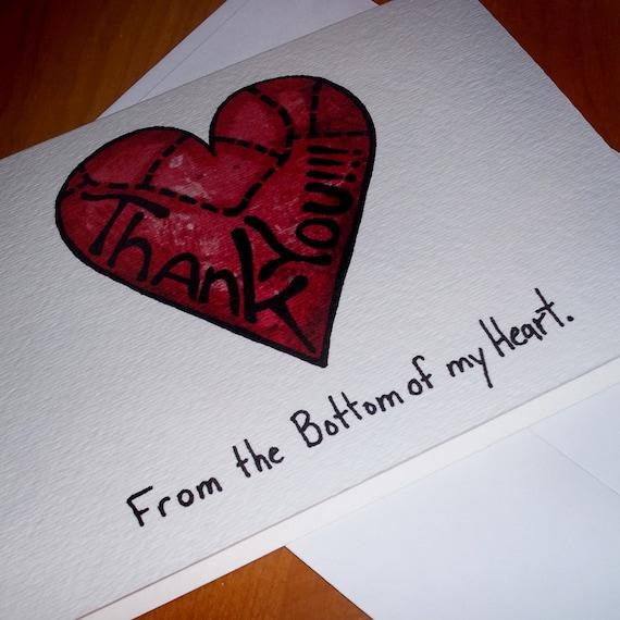 cute heart thank you card 5x7 greeting card blank inside by