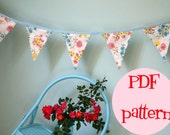 Instant Download Little Bird Lane Palace Pennant Banner Bunting PDF Pattern Tutorial For 3 Three Fabric Flag Bunting
