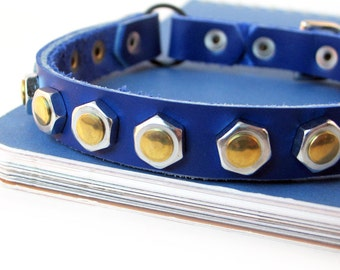 Industrial Metal Leather Cat Collar in Royal Blue, Size XS to fit a 8-10in Neck, Eco Friendly, OOAK