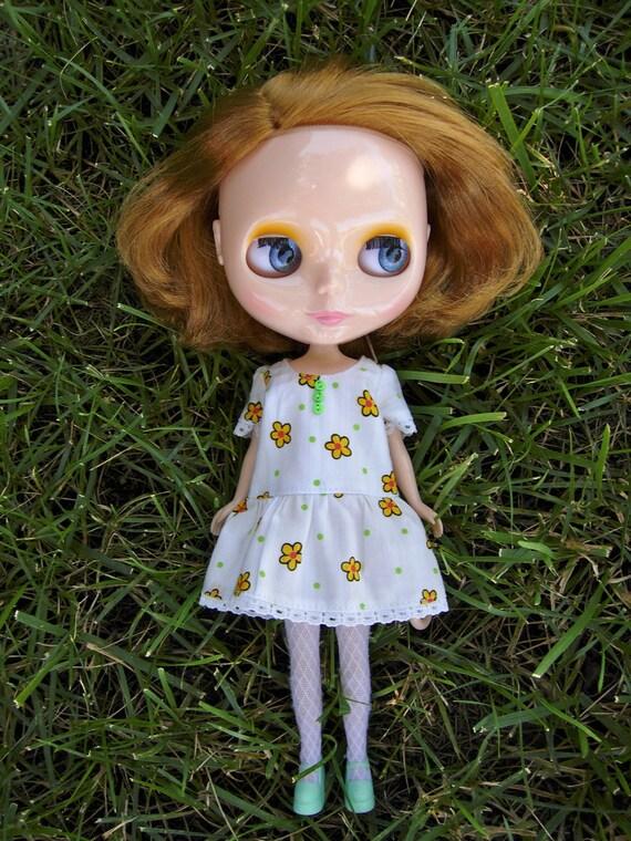 Drop Waist Blythe Dress - White with Yellow Flowers
