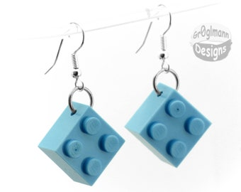 Dangle Drop Blue Earrings - made with LEGO bricks