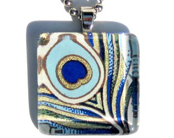 peacock feather glass tile pendant necklace with gift tin