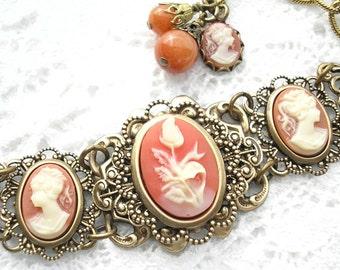 Ivory and Carnelian Cameo Bracelet