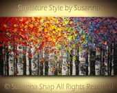 Original Birch Tree Landscape Oil Painting Painting Abstract Art Aspen Palette Knife Modern Wall Art Texture Large, by Susanna Made to Order