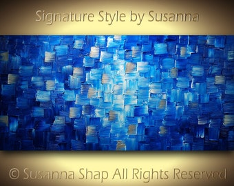 Original Large Blue Abstract Painting Textured Modern Palette Knife Acrylic Painting Ready to Hang 48x24 by Susanna