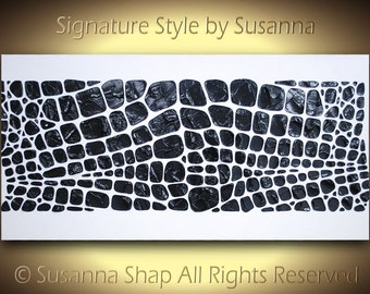 Original Black & White Large Abstract Painting Wall Art Home Decor Modern Minimalist Impasto Texture Palette Knife Art 48x24 MADE2ORDER