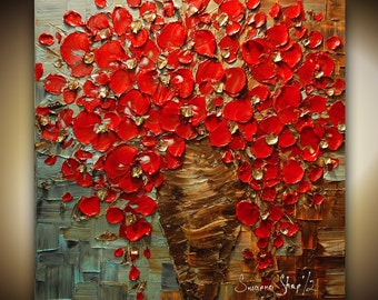 ORIGINAL Contemporary Textured Painting Red Flowers Painting Thick Impasto Bouquet in Vase by Susanna