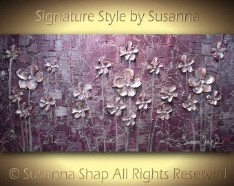painting eggplant aubergine original flowers landscape abstract purple  mauve dusty pink dusty purple metallic art textured large by susanna