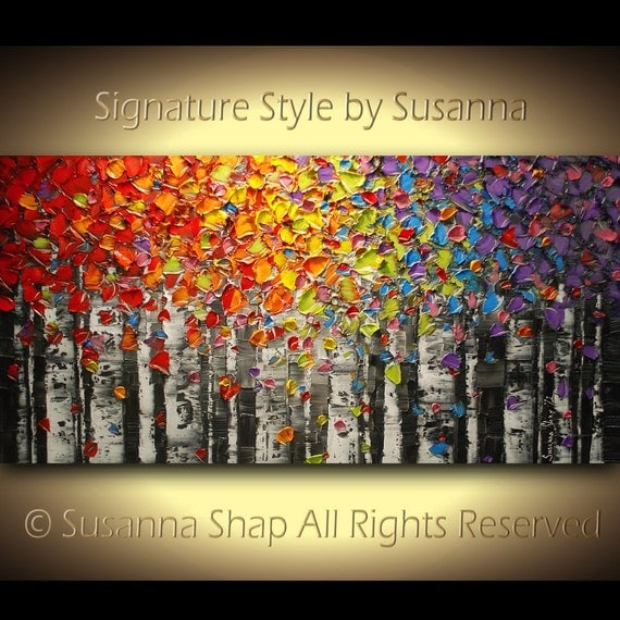Birch trees Original Art Abstract Oil Painting Landscape Aspen Palette Knife Modern Texture Large, by Susanna Made to Order