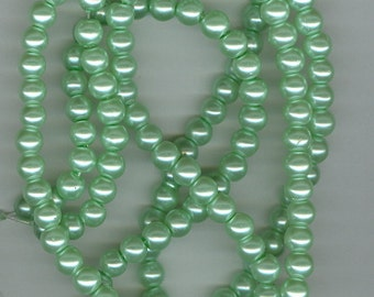 6mm Light Green Glass Pearl Round Beads
