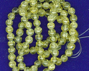 Yellow Crackle Beads, 8mm Butter Yellow Crackle Glass Round Spacer Beads 100 Bead Spacers