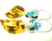 LAST DAY 20% OFF (Code:SALE20) Golden Citrine Faceted Fancy Briolette and Sterling Silver Earrings