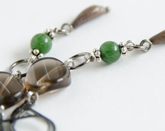 Long Thai Seed Earrings with Smoky Quartz and Nephrite Jade