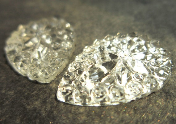 Vintage Multi Faceted Teardrop Glass Cabochons - White Silver Ice