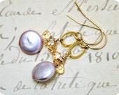 Pink Pearl Earrings, Powder Pink Coin Freshwater Pearl Earrings, Gold Dangle Earrings, Golden Shadow Swarovski TearDrop Crystals, Gold Loop