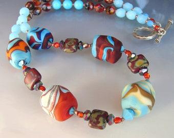 GLASS Lampwork Beads. Beaded Handmade Necklace, Jewerly Art. WESTERN ROCKS. Openstudio. Openstudiobeads.