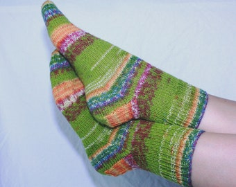 Women's 7-9 Ankle Socks Hand-knit by Janie Bull, Green Envy, ready to ship