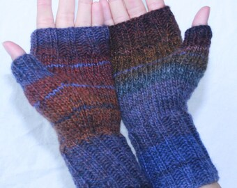 Fingerless Mittens with Thumb, Bold and Beautiful,Women's Hand-knit by Janie, Constellation, size small