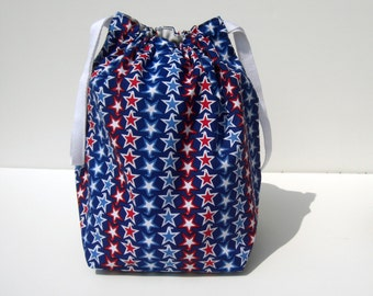 HOLIDAY SALE - Patriotic Eagle Star Stripes Drawstring Knitting Project Bag