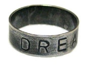 Sterling Silver Ring DREAM Hand Stamped Brushed Metal Ring