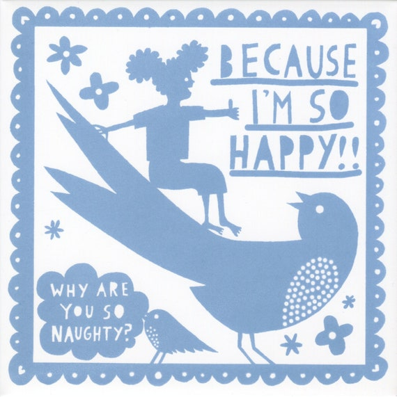 Why Are You So Naughty ceramic tile (Light Blue)