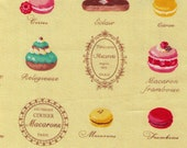 HALF YARD Yuwa - Yellow Paris French Patisserie - Éclair, Macarons, Palmier, Tart, Cake Dessert Mix  - Japanese Import Fabric